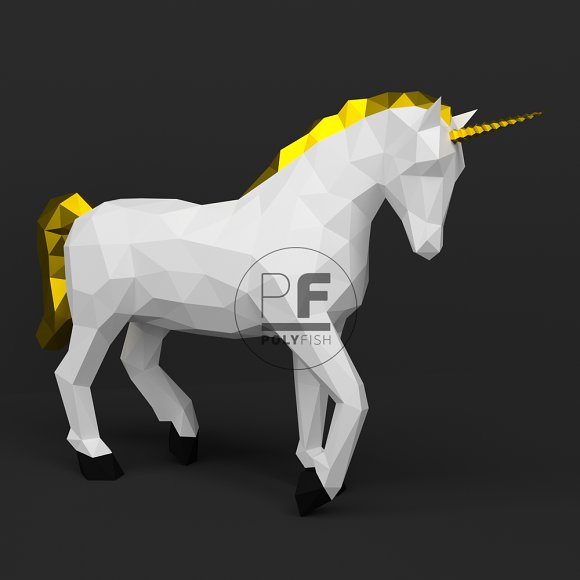 Diy Unicorn 3d Model Template Templates Creative Market