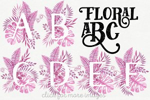 Pink Floral ABC