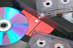 Vinyl disc, audio and video cassette