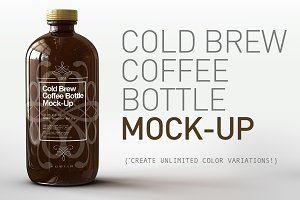 Cold Brew Coffee Bottle Mock-Up