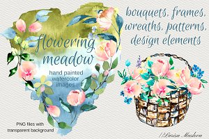 Watercolor clip arts floral set