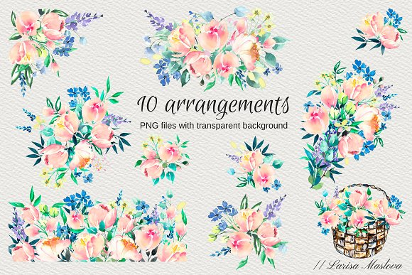 Watercolor clip arts floral set in Illustrations - product preview 1