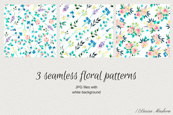 Watercolor clip arts floral set in Illustrations - product preview 3