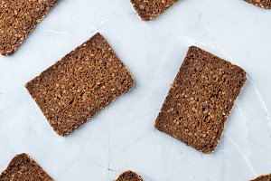 Assortment of rye bread for cooking