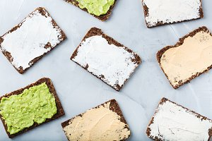 Variety of rye bread sandwiches with