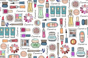 Pattern with hand drawn cosmetics