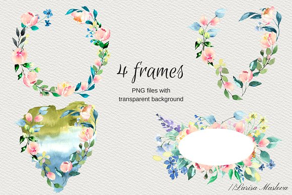 Watercolor clip arts floral set in Illustrations - product preview 2