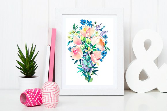 Watercolor clip arts floral set in Illustrations - product preview 5