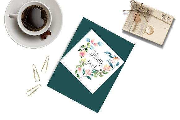 Watercolor clip arts floral set in Illustrations - product preview 6