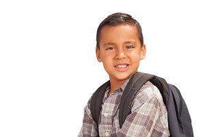 Happy Young Hispanic Boy with Backpa