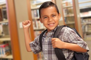 Hispanic Student Boy with Backpack i
