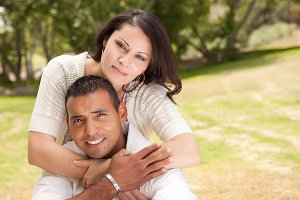 Attractive Hispanic Couple in the Pa