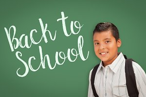 Hispanic Boy In Front of Back To Sch