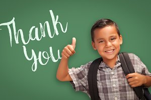 Hispanic Boy with Thumbs Up in Front