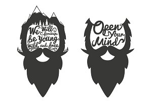 Cool Bearded heads with quotations