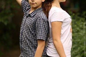 two siblings teenager kids sister