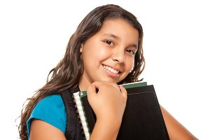 Pretty Hispanic Girl with Books and
