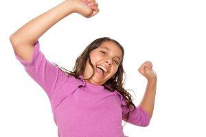 Happy Hispanic Girl Dancing Isolated