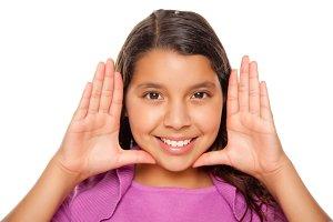 Pretty Hispanic Girl Framing Her Fac