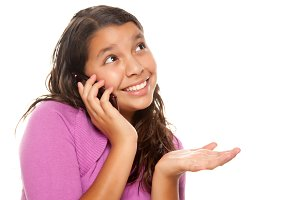 Happy Pretty Hispanic Girl On Cell P