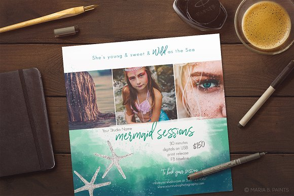 mermaid photo marketing template social media templates creative