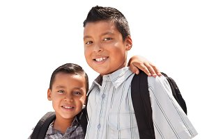 Young Hispanic Student Brothers Wear