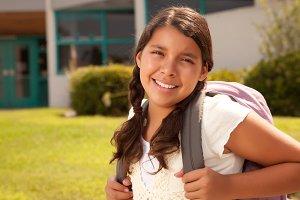 Cute Hispanic Teen Girl Student Read