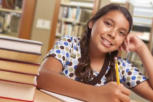 Hispanic Girl Student Studying in Li