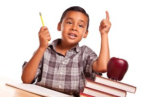 Hispanic Boy Raising His Hand, Books