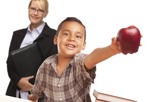 Hispanic Student Boy with Apple and