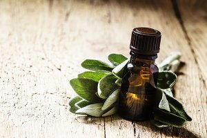 Sage oil in brown bottle on the vint