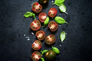 Food background, black and red cherr