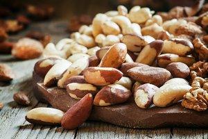 Brazilian nut, nut mix, vintage wood