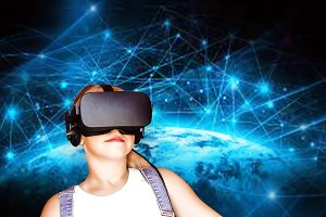 girl in glasses of virtual reality,