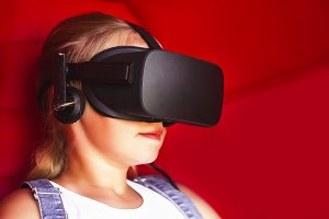 child in virtual reality glasses. te