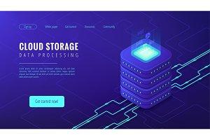 Isometric cloud storage landing page