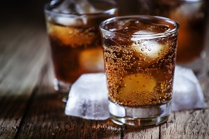 Alcoholic cocktail bourbon cola with