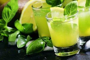 Spicy fruit lemonade with basil, kiw