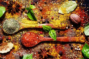 Food background, spices, dried herbs