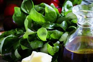 Ingredients for pesto sauce: green b