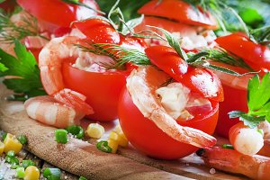 Fresh tomatoes stuffed with shrimp a