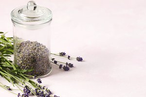 Glass jar with dried lavender and fr