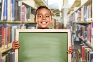 Smiling Hispanic Boy Holding Empty C