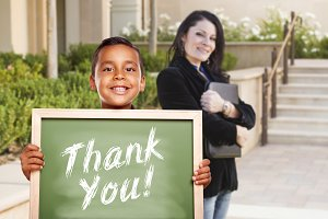 Boy Holding Thank You Chalk Board wi