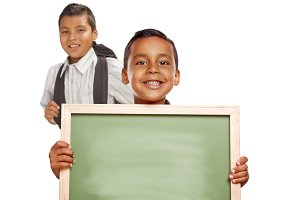 Hispanic Boys Holding Blank Chalk Bo