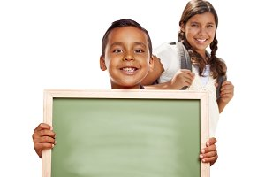 Hispanic Boy and Girl Holding Blank