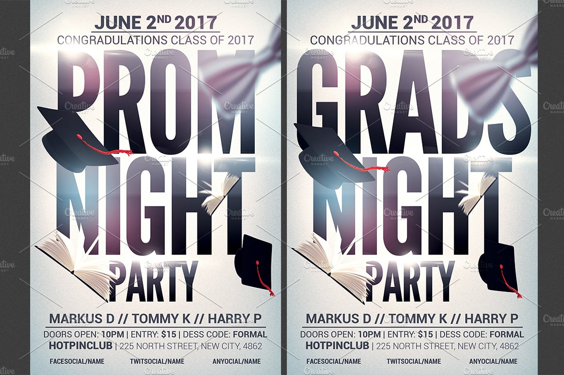 Prom-Graduation Night Party Flyer ~ Flyer Templates ~ Creative Market