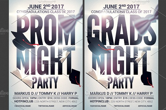 prom graduation night party flyer flyer templates creative market