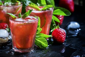 Alcoholic cocktail strawberry mojito