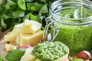 Bruschetta with fresh pesto sauce, h
